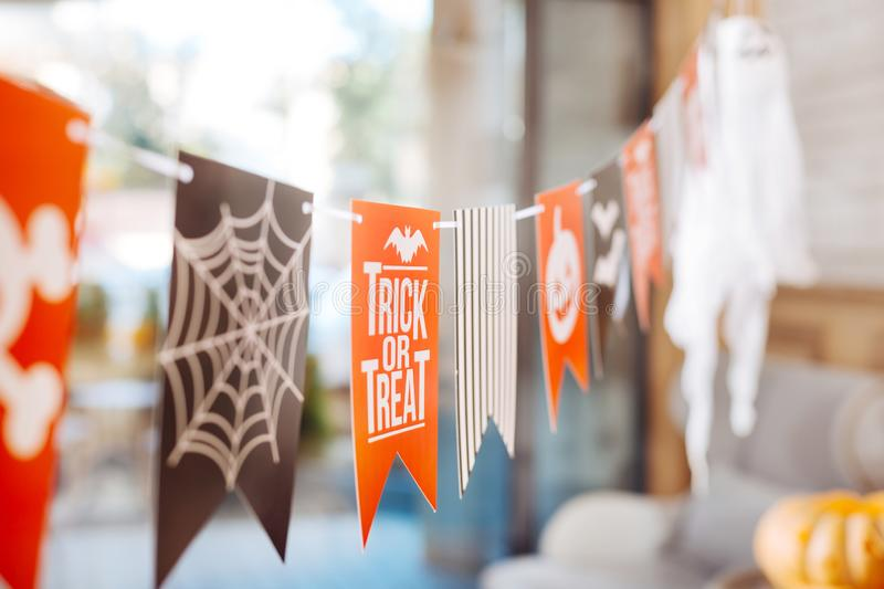 Selective focus of nice bright Halloween decorations in famous event hall stock photo