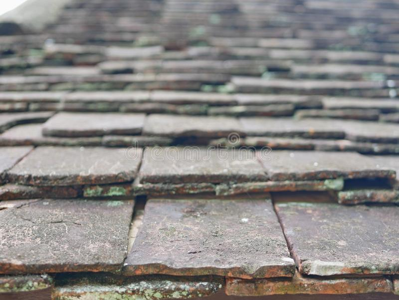 Selective focus of old grungy roof tiles in bright afternoon sunlight stock photography