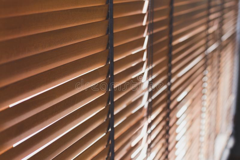 Selective focus Pattern of bamboo curtain  texture background with sunlight stock photo