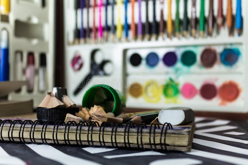 Selective Focus Photo of Assorted School Supplies royalty free stock image