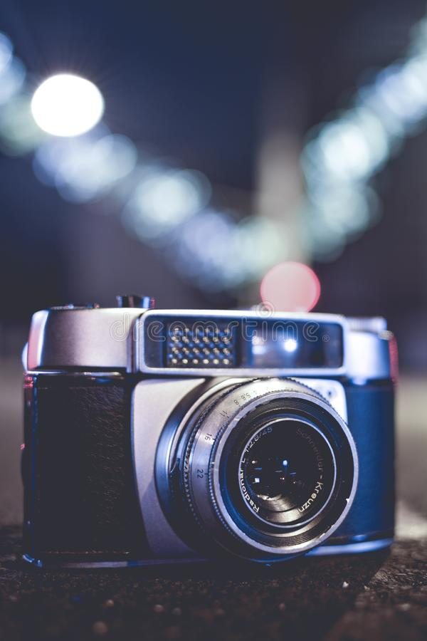Selective Focus Photo of Gray and Black Slr Camera royalty free stock photography