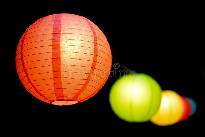 Selective Focus Photo of Paper Lanterns stock images