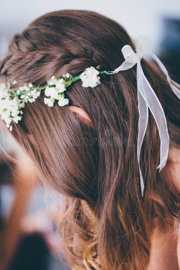 Selective Focus Photo of Woman Wearing Floral Headdress stock image