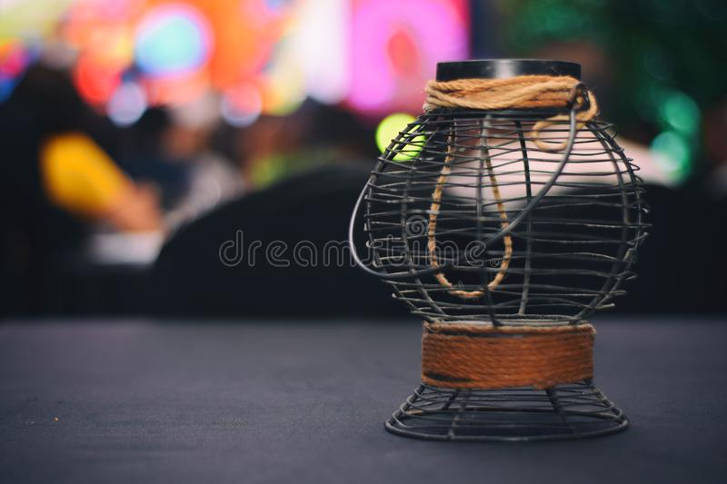 Selective Focus Photograph Od Black and Brown Metal Candle Lantern royalty free stock photo