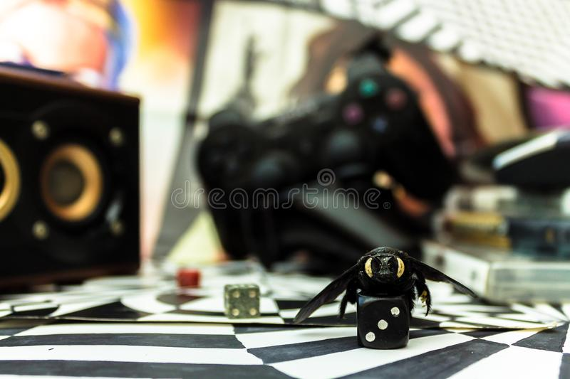 Selective Focus Photography of Black Die stock image