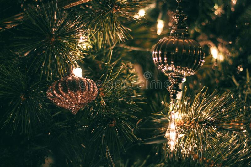 Selective Focus Photography of Christmas Baubles With String Lights royalty free stock photography