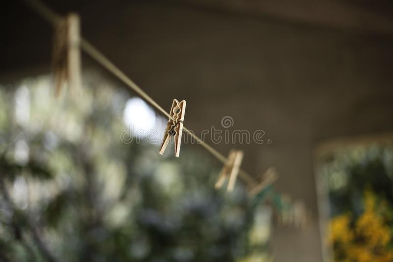 Selective Focus Photography of Clothes Hanger Clip royalty free stock image