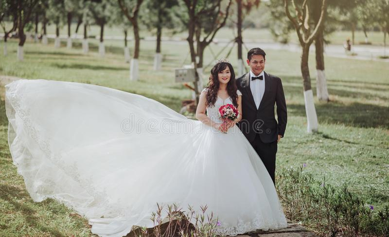 Selective Focus Photography of Groom and Bride stock photo
