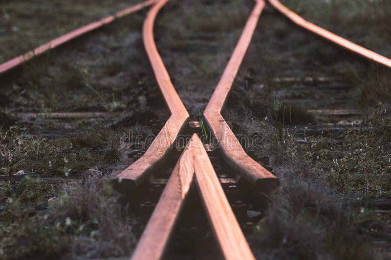Selective-focus Photography of Train Rail royalty free stock photo