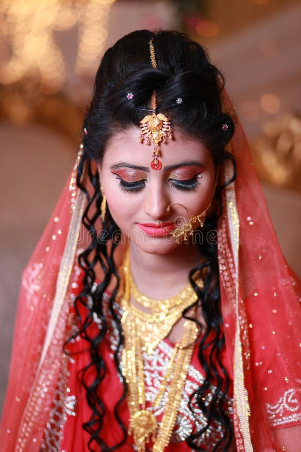 Selective Focus Photography of Woman Wearing Traditional Dress With Gold-colored Accessories royalty free stock image