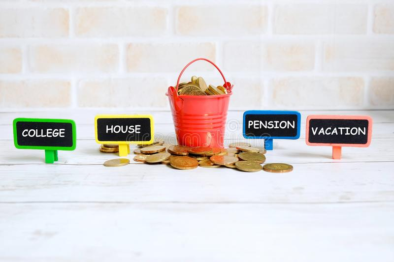 Type of savings stock photos