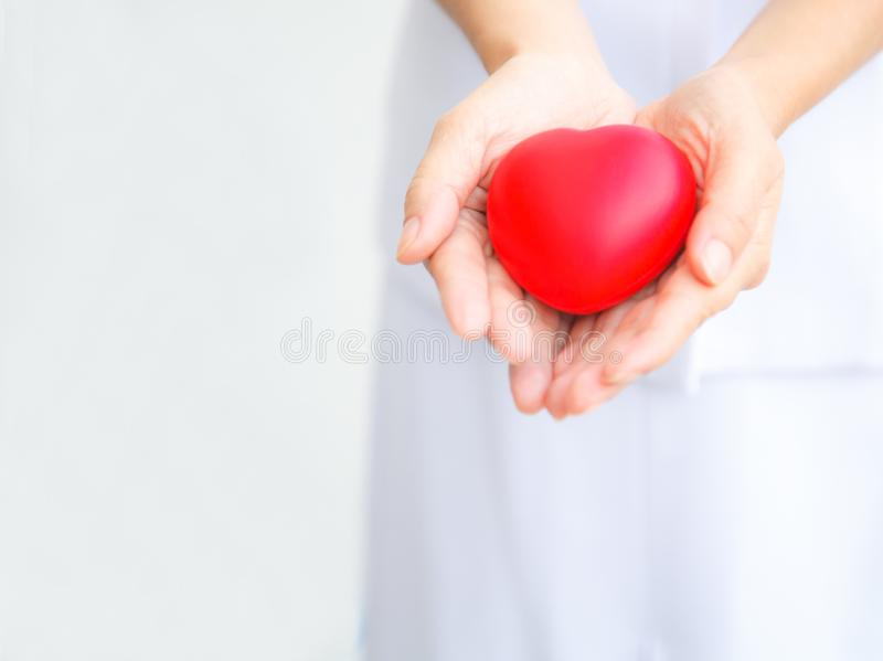 Selective focus of red heart held by female nurse`s both hand, representing giving all effort to deliver high quality service mind. To patient. Professional royalty free stock photos