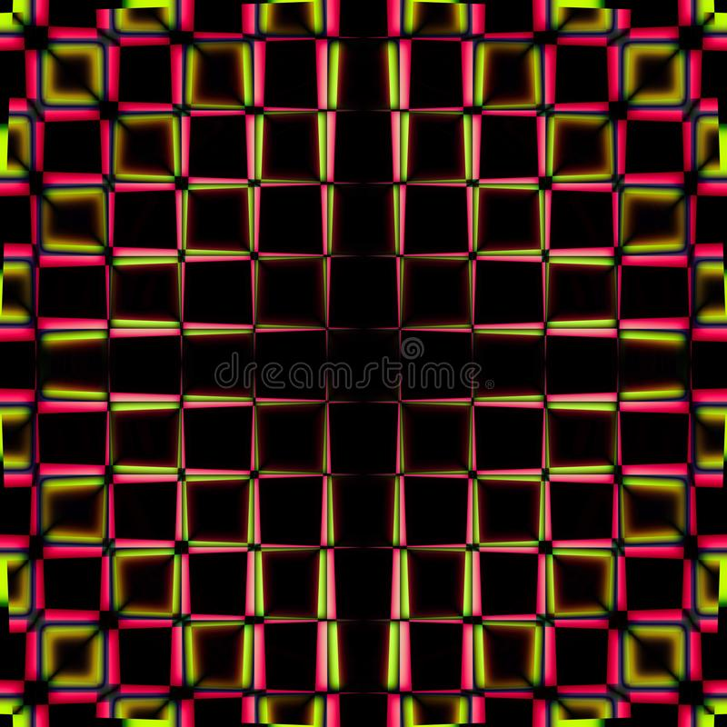 Red and yellow squares pattern. Selective focus red and yellow squares pattern on a black background vector illustration