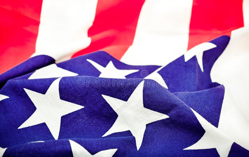 Selective Focus of ruffled American flag stock photo
