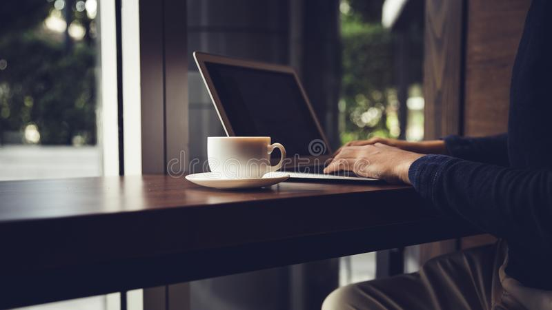 Selective focus of Side view laptop. stock photography