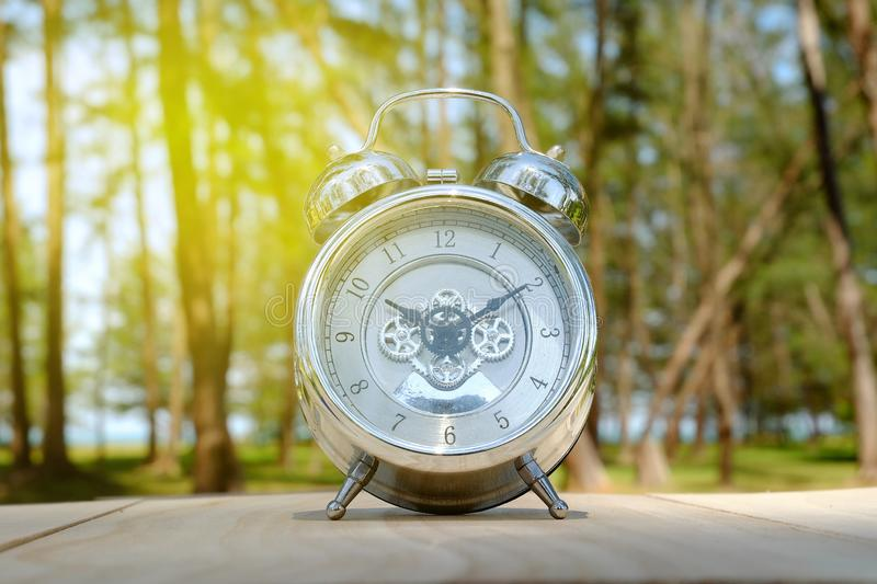 Selective focus of Table clock on wood with forest background with sun flare. Clock show time ten past ten. royalty free stock photos