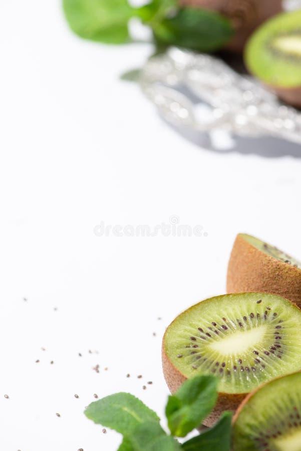 Selective focus of tasty kiwi fruits stock photo