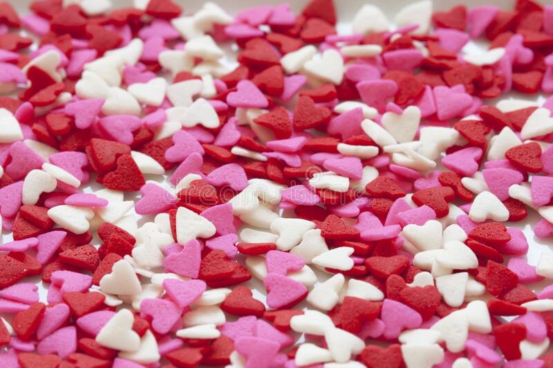 Selective Focus of White Red and Pink Hearts Sprinkles royalty free stock images