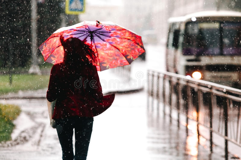 Selective focus. Woman walking with umbrella while raining royalty free stock images