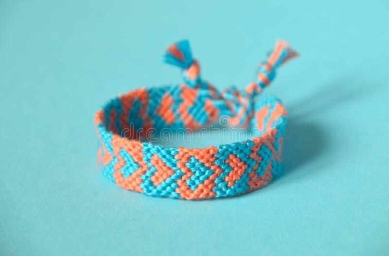 Blue background yin and yang pattern handmade woven friendship bracelet