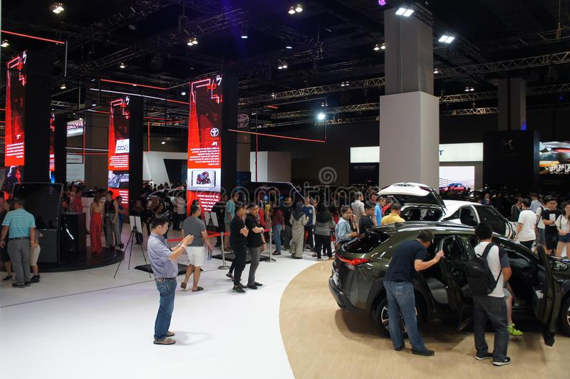Selective focused of car showroom inside huge hall. stock image