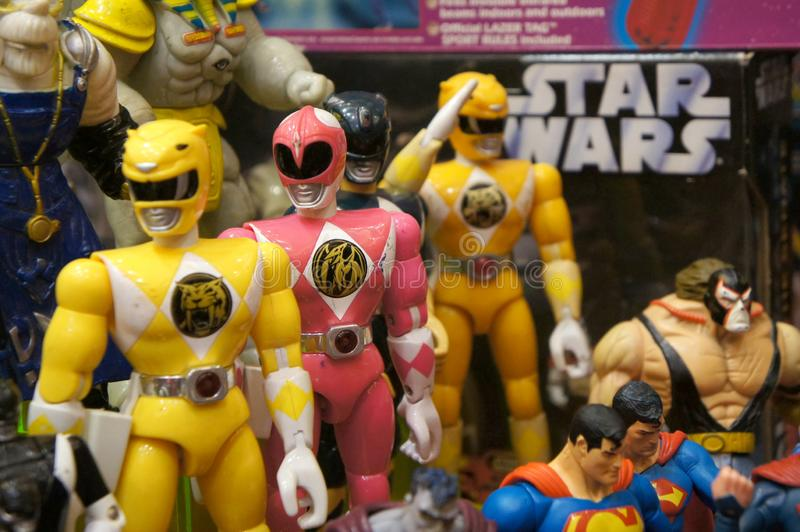 Selective focused of fictional character action figure from American kids TV series Power Rangers. KUALA LUMPUR, MALAYSIA -AUGUST 08, 2019: Selective focused of stock images
