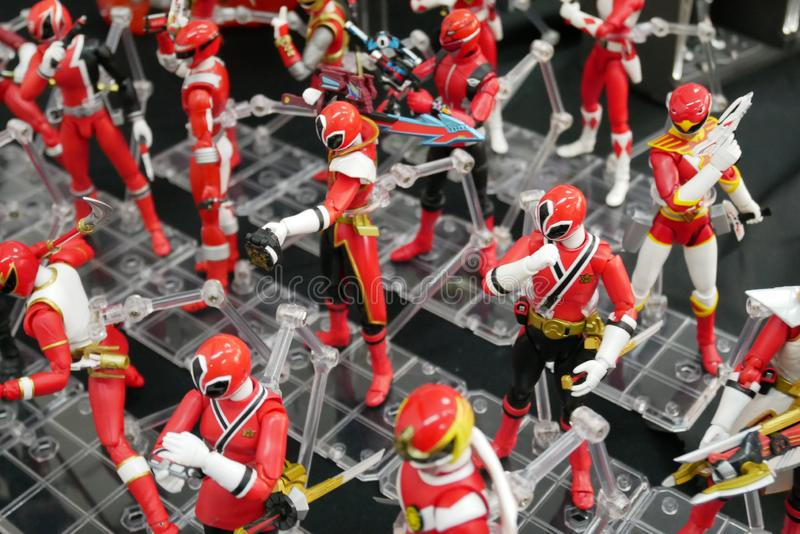 Selective focused of fictional character action figure from American kids TV series Power Rangers. KUALA LUMPUR, MALAYSIA -AUGUST 08, 2019: Selective focused of stock image