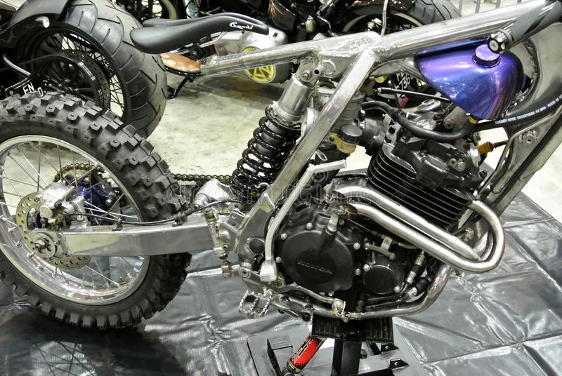 Selective focused on a high performance motorcycle engine. stock images