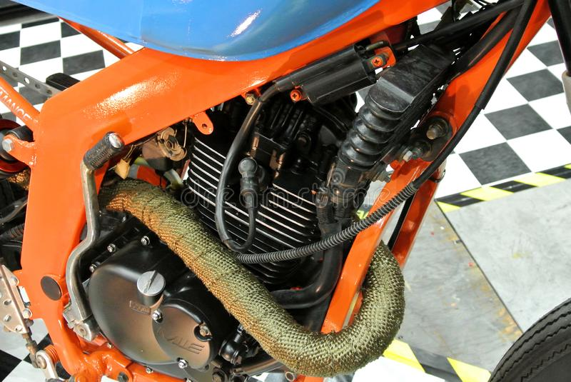 Selective focused on a high performance motorcycle engine. royalty free stock image