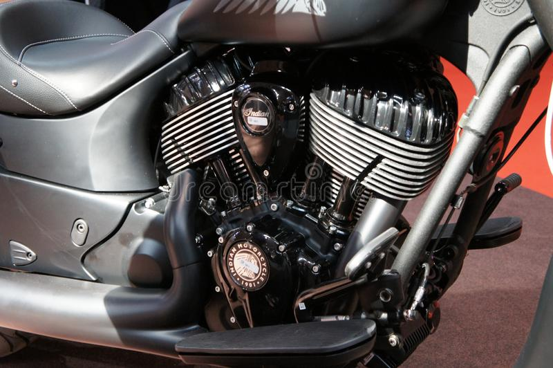Selective focused on the high performance motorcycle handle bar and all the equipment attached to it. KUALA LUMPUR, MALAYSIA -MARCH 25, 2019: Selective focused royalty free stock image