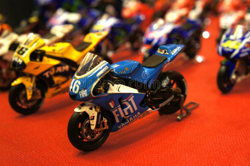 Selective focused on MotoGP`s miniature scale motorcycle models. stock images