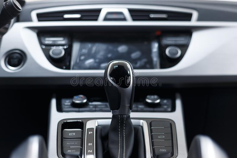 Selector automatic transmission with perforated leather in the interior stock photography