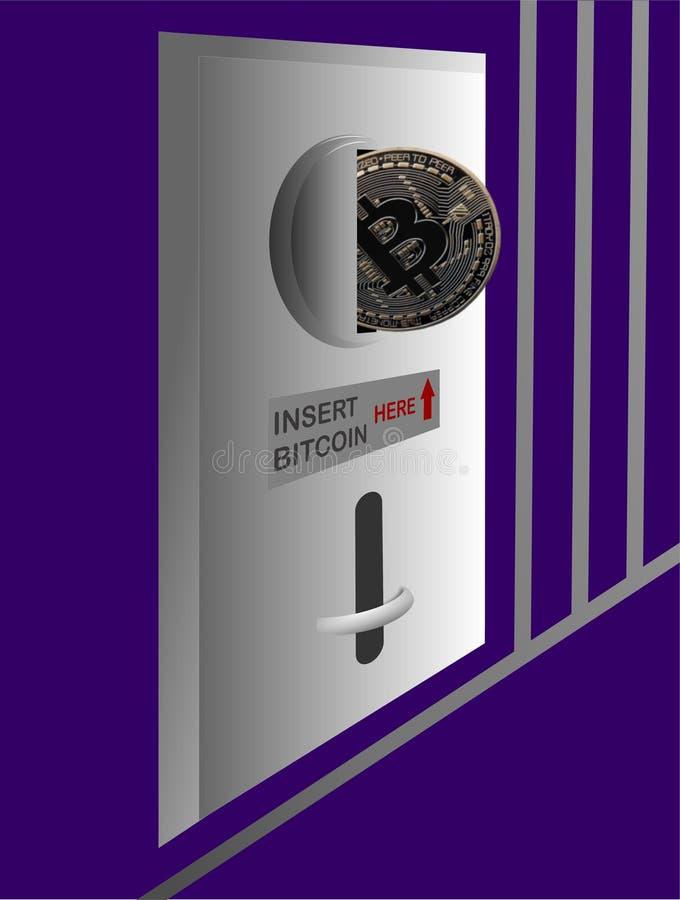 Selector de Bitcoin en la máquina expendedora stock de ilustración