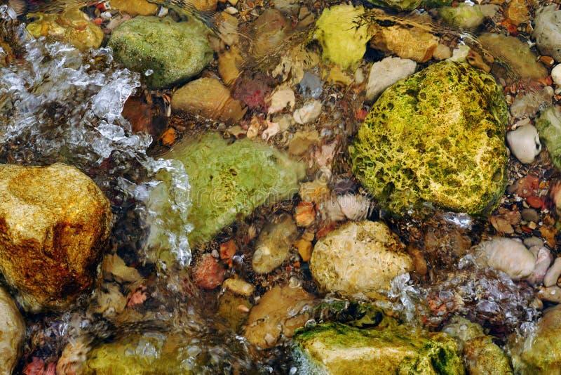 Selekcyjnej ostrości kamienie w natury tle wodnej teksturze lub, Ibiza wyspa, Balearic wyspy, Hiszpania zdjęcie stock