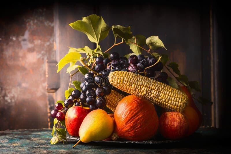 Selektiv fokus för stark konst Platta med nedgångfrukter och grönsaker på det mörka lantliga köksbordet på träbakgrund arkivbilder