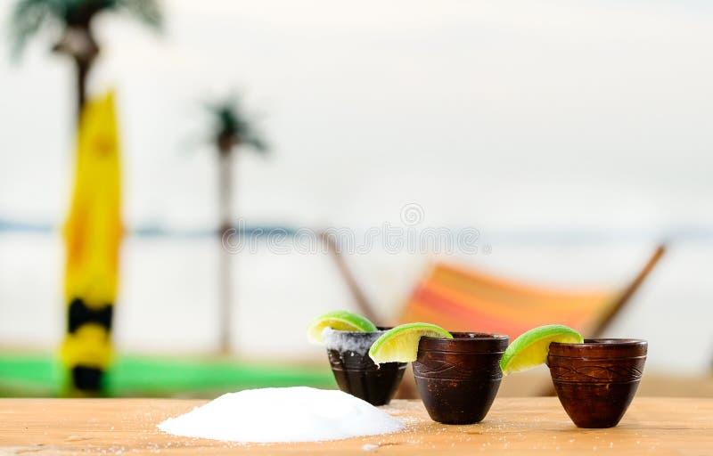 Selektiv fokus på två träkopp med mexicansk tequila på stången Co fotografering för bildbyråer