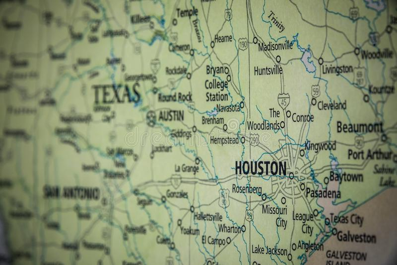 Selektiv fokusering av delstaten Houston Texas på Förenta staternas geografiska och politiska statskarta royaltyfria bilder