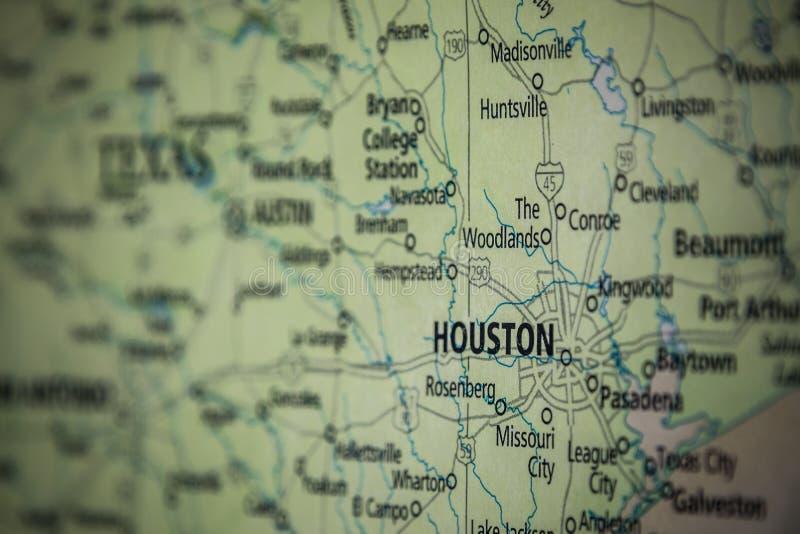 Selektiv fokusering på Houston Texas på USA:s geografiska och politiska statskarta royaltyfri bild