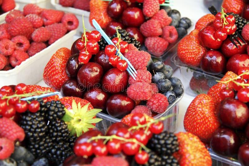 Selektiv ny frukt i plast- behållare royaltyfria foton