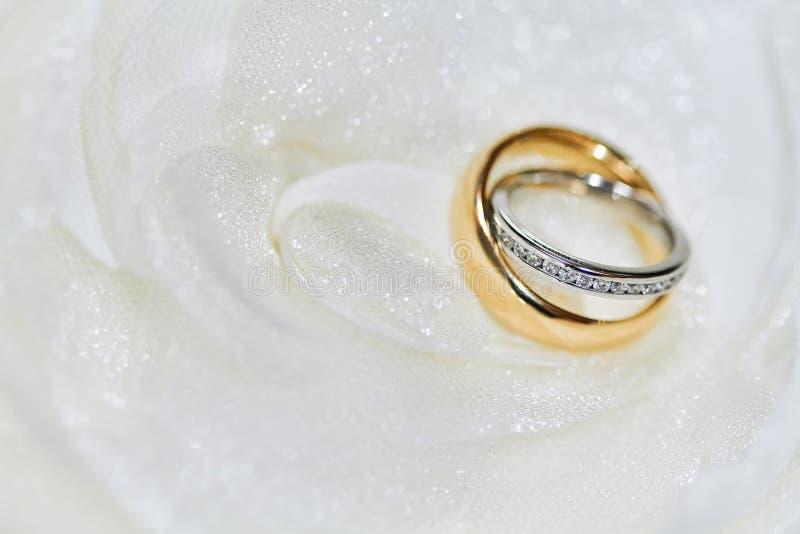 Selektiver Fokus auf dem Diamantkopf von Paaren schellt mit flachem deph des Feldes auf dem weißen Gewebe stockfotografie