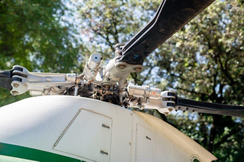 Selektiver Fokus des HubschrauberMaschinenteil-Details lizenzfreie stockfotografie
