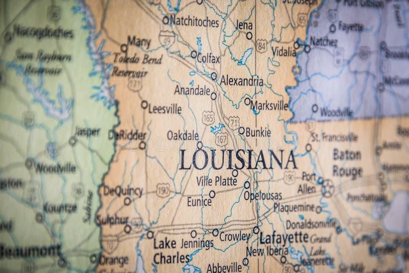 Selektiver Fokus des Staates Louisiana auf einer geografischen und politischen Staatskarte der USA stockfoto