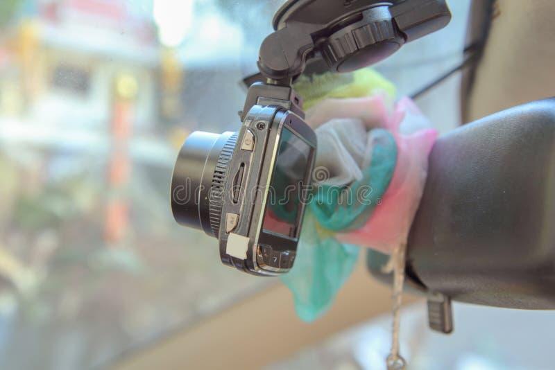 Selektiver Fokus, zum des Kameraautorecorders zu konfrontieren lizenzfreies stockbild