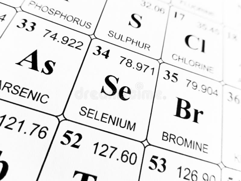 Selenio sulla tavola periodica degli elementi immagini stock