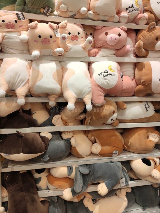 Seletivos focalizados de ursos de peluche e de outros brinquedos macios dos caráteres foram indicados em prateleiras para a venda foto de stock