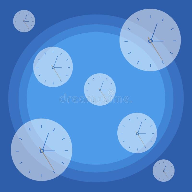 Seletor de pulso de disparo SemiTransparent repetido da cara do relógio do tamanho diferente dispersado em aleatório contra o con ilustração do vetor