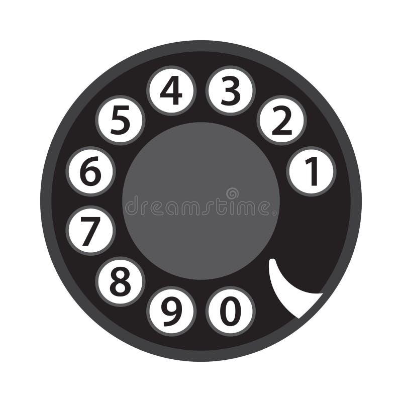 Seletor giratório do telefone, números de telefone velhos, disco abstrato, disco retro do telefone do vintage, preto isolado no f ilustração stock