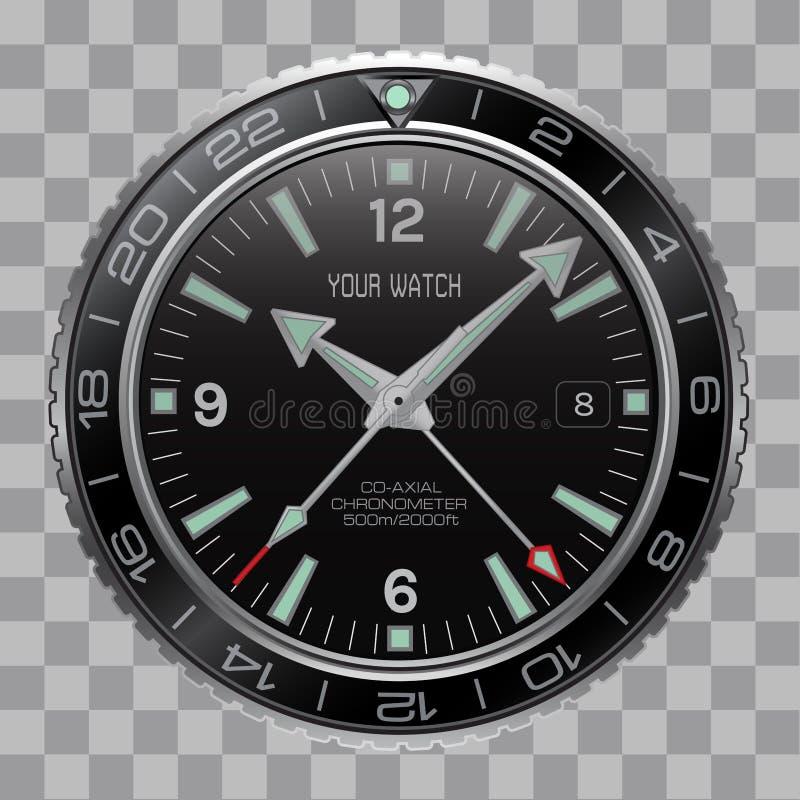 Seletor preto de aço inoxidável da cara realística do cronógrafo do pulso de disparo do relógio no vetor quadriculado do fundo do ilustração stock
