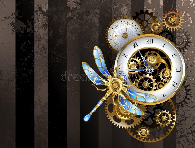 Seletores com libélula - fundo de Steampunk ilustração do vetor