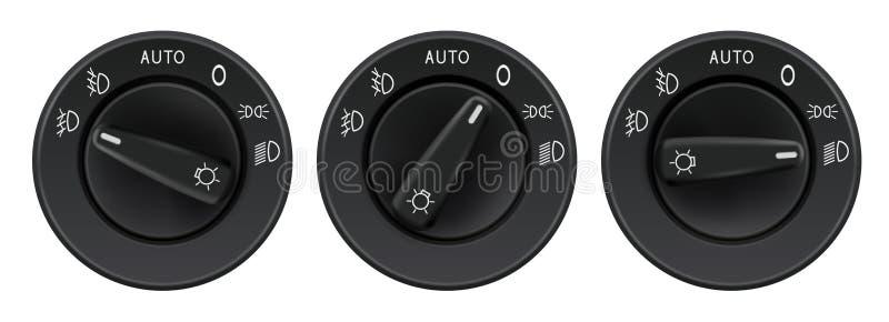 Seletores dos faróis Elementos do carro ilustração do vetor